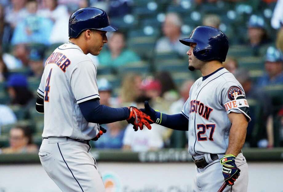 George Springer and Jose Altuve are not in the Astros' lineup for Wednesday's game at Cleveland. Photo: Ted S. Warren, Associated Press / Copyright 2016 The Associated Press. All rights reserved. This material may not be published, broadcast, rewritten or redistribu