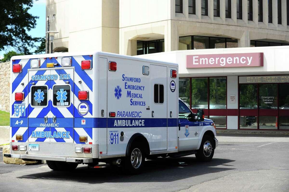 An ambulance waits at Stamford Hospital.