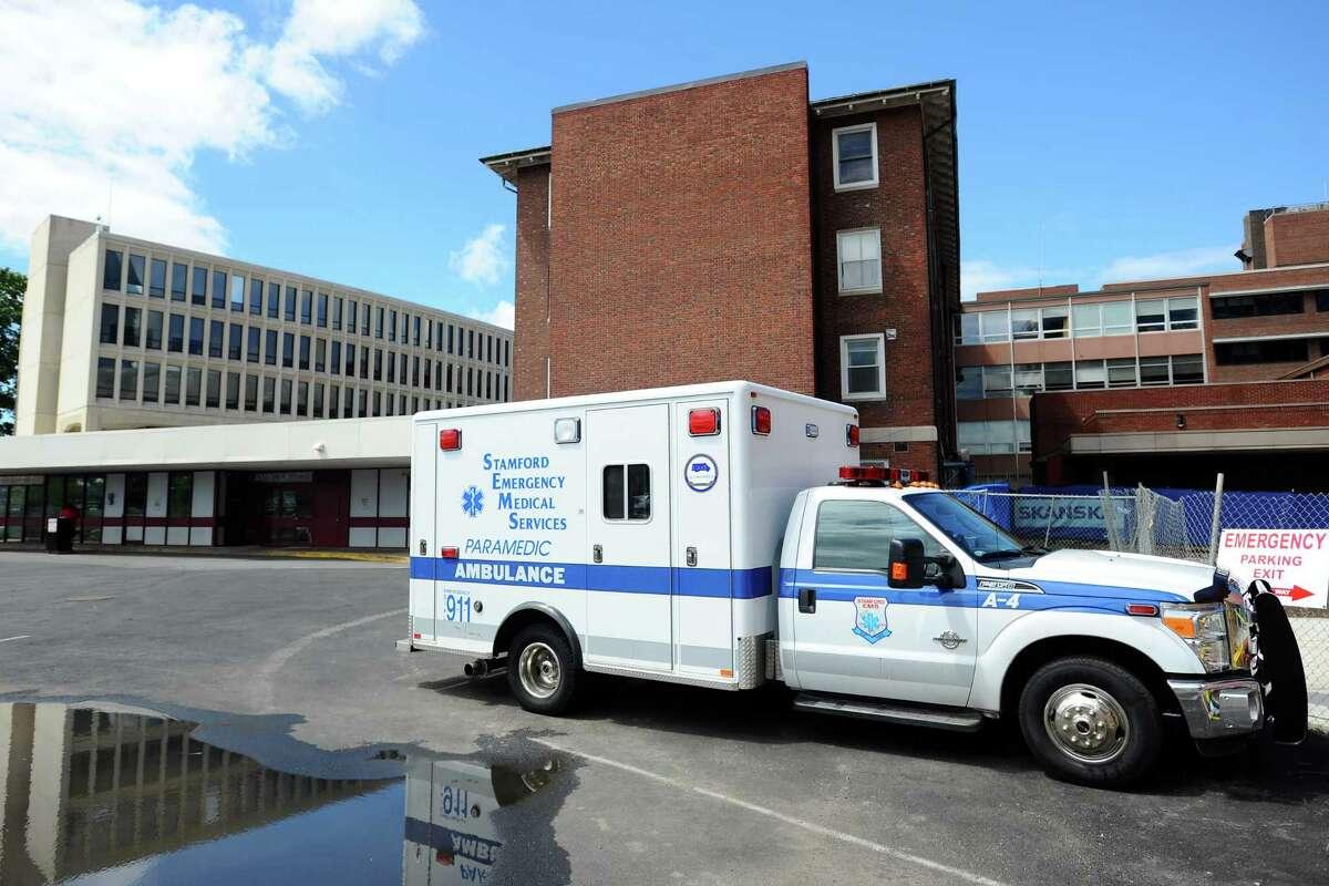 An ambulance waits at Stamford Hospital on Tuesday, July 5, 2016.