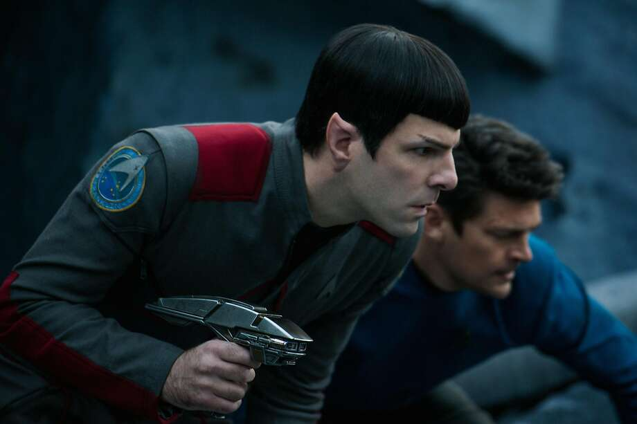 Left to right: Zachary Quinto plays Spock and Karl Urban plays Bones in Star Trek Beyond from Paramount Pictures, Skydance, Bad Robot, Sneaky Shark and Perfect Storm Entertainment Photo: Photo Credit: Kimberley French, Kimberley French