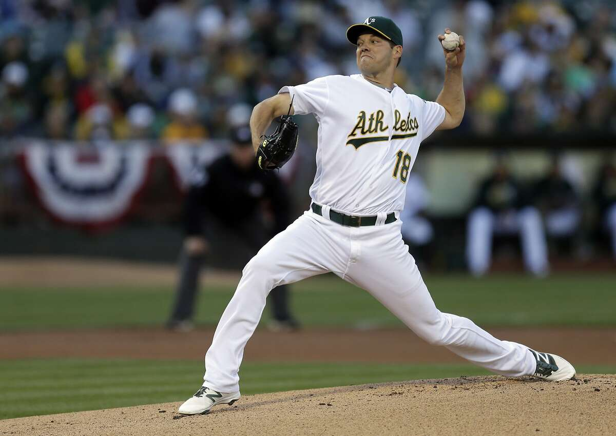 Oakland Athletics pitcher Rich Hill works against the Pittsburgh Pirates in the first inning of a baseball game Saturday, July 2, 2016, in Oakland, Calif. (AP Photo/Ben Margot)