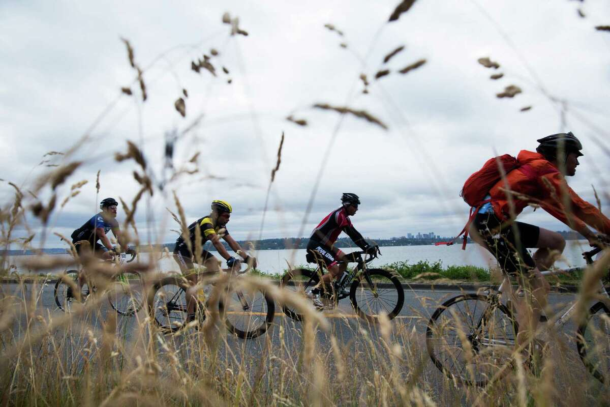 Cyclists head south next to Lake Washington en route to Portland during the annual Seattle to Portland ride on Saturday, July 16, 2016. Ten thousand participants from all over the world signed up for the 37th annual, 200-mile ride.