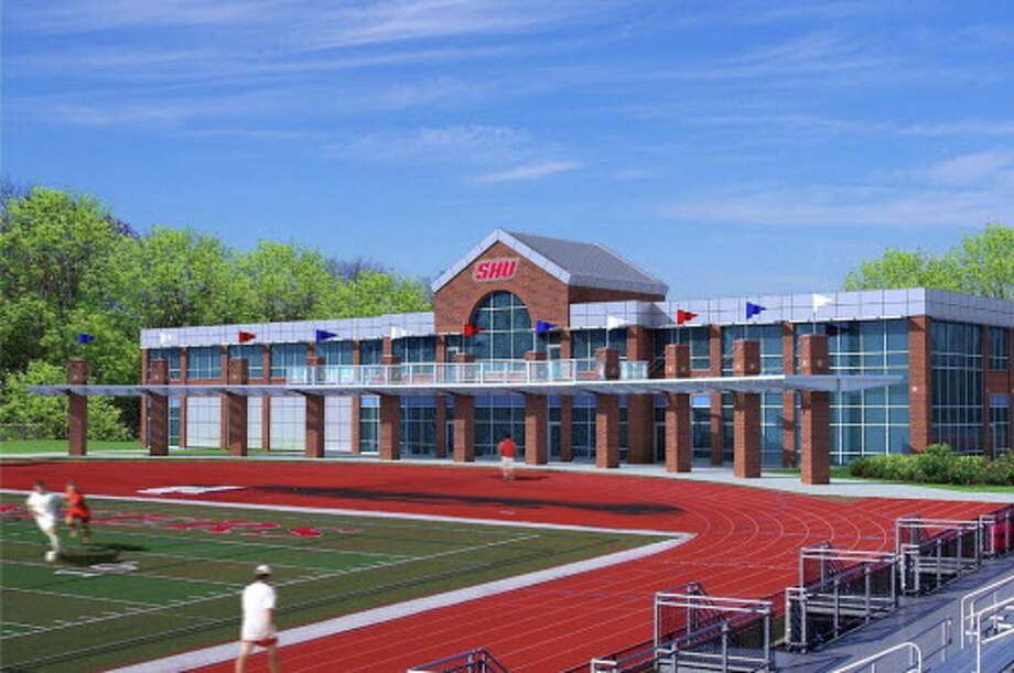 Artist's rendering of the Bobby Valentine Athletic and Recreation Center to be built behind the north end zone at Campus Field. Photo: Courtesy Of Sacred Heart University
