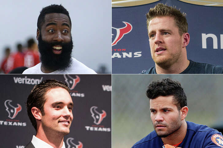 The Rockets' James Harden (clockwise from top left), Texans' J.J. Watt, Astros' Jose Altuve and Texans' Brock Osweiler are among the city's leading sports figures, but who tops this year's Houston 10?    Click through the gallery for our ranking of this year's most influential sports figures in Houston.