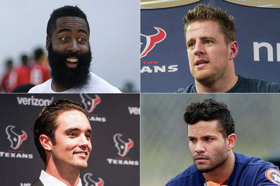 The Rockets' James Harden (clockwise from top left), Texans' J.J. Watt, Astros' Jose Altuve and Texans' Brock Osweiler are among the city's leading sports figures, but who tops this year's Houston 10?For a more historical look, click through the gallery for Dale Robertson's most influential Houston sports figures of the past 50 years.