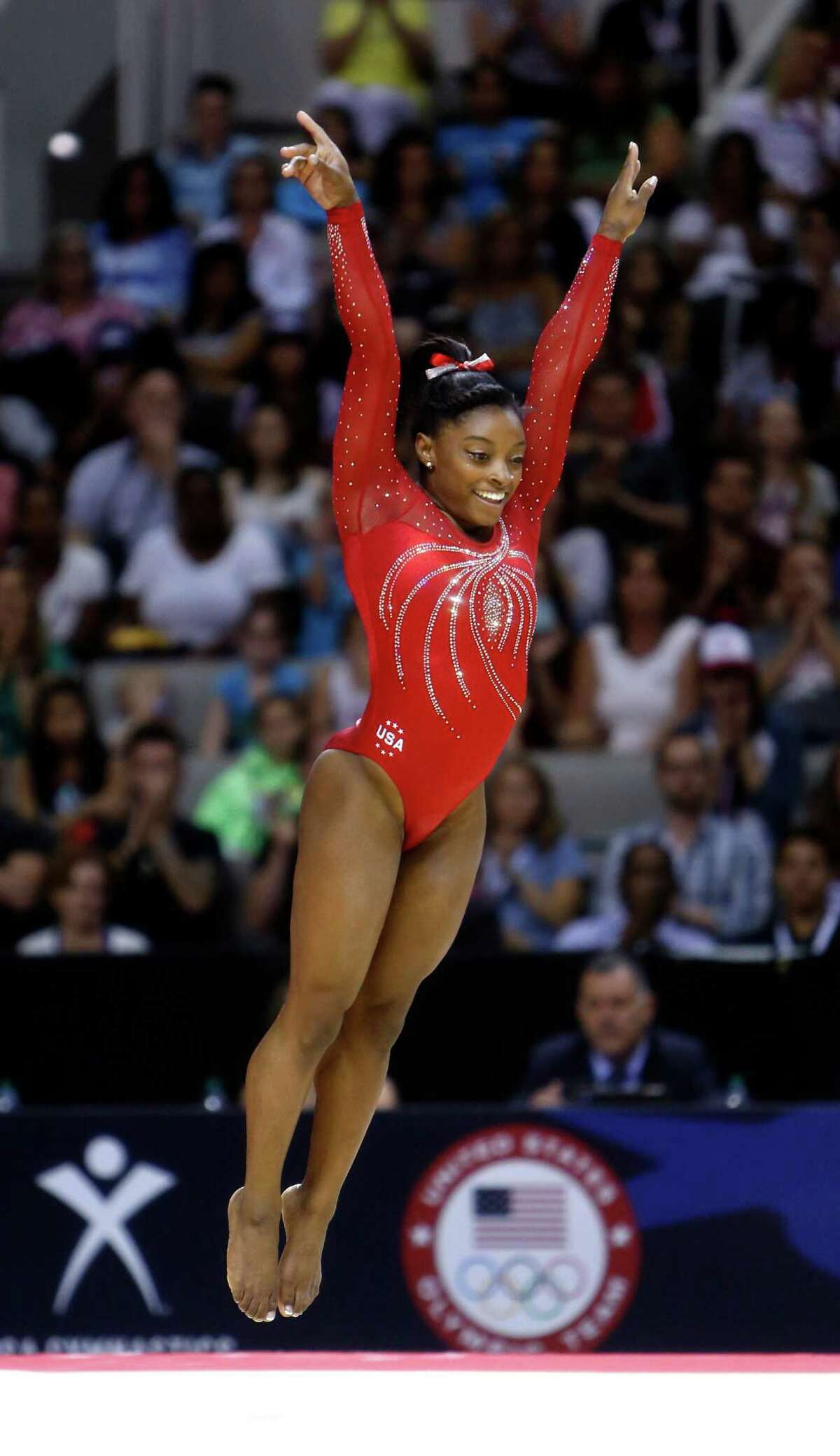Simone Biles performs her floor routine during Day 2 of 2016 U.S. Olympic Trials for Women's Gymnastics at SAP Center in San Jose, Calif., on Sunday, July 10, 2016.