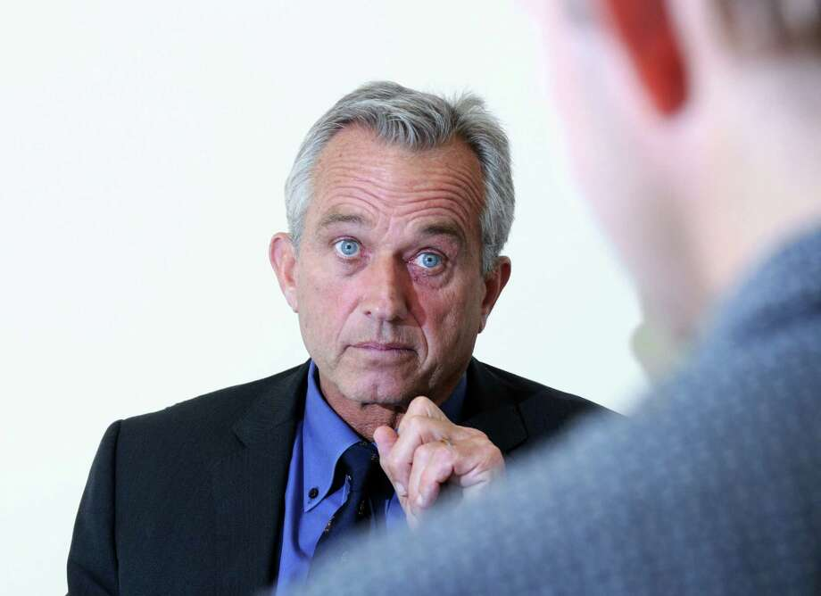"Robert Kennedy Jr., speaks about his book, ""Framed: Why Michael Skakel Spent Over a Decade in Prison for a Murder He Didn't Commit,"" during an interview at the Greenwich Time Saturday. Kennedy, a former prosecutor, is a cousin of Michael Skakel, the subject of his book, who in 2002 was convicted of murder in the 1975 killing of Martha Moxley, 15, in Greenwich. Photo: Bob Luckey Jr. / Hearst Connecticut Media / Greenwich Time"