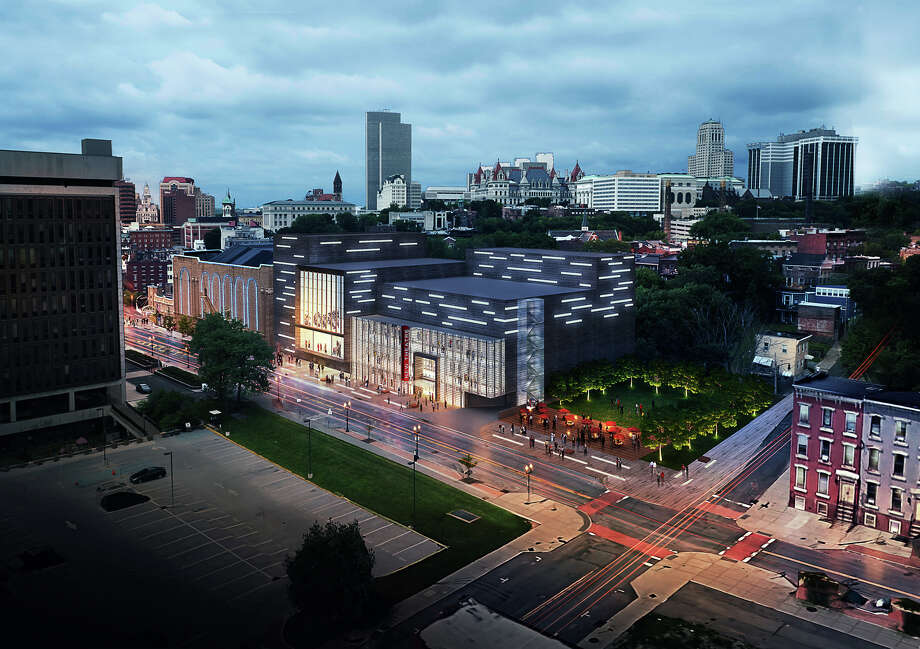 A rendering of the expanded Palace Theatre, looking north on North Pearl Street toward Clinton Avenue. In the foreground is a proposed new, 600-seat theater. (Finegold Alexander Architects.)