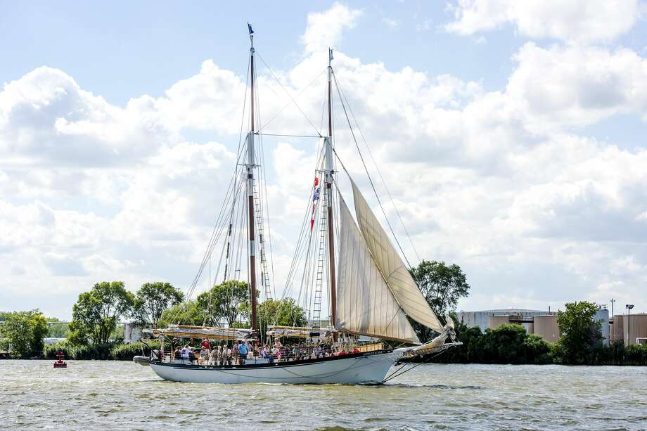 DANIELLE McGREW TENBUSCH | for the Daily News The gaff schooner Appledore IV sails towards the Saginaw Bay on an excursion Thursday during the Tall Ship Celebration in Bay City. She and her sister ship, the Appledore V, were available for sailing tours during the festival. Photo: Danielle McGrew Tenbusch, For The Daily News