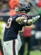 Houston Texans defensive end J.J. Watt celebrates after sacking New York Jets quarterback Ryan Fitzpatrick during the third quarter of an NFL football game at NRG Stadium on Sunday, Nov. 22, 2015, in Houston. ( Brett Coomer / Houston Chronicle )