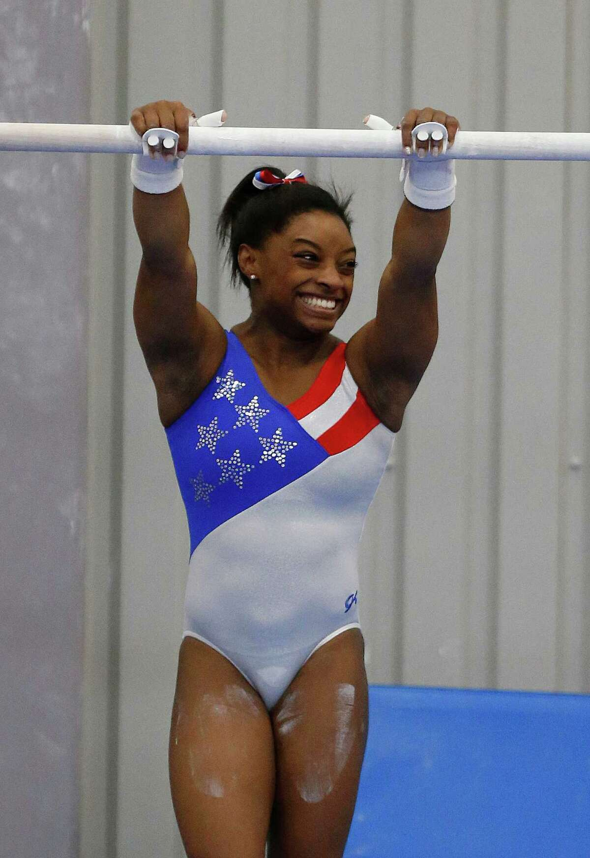 Gymnast Simone Biles has won gold at every event in which she has competed since 2013, including three consecutive all-around world titles.