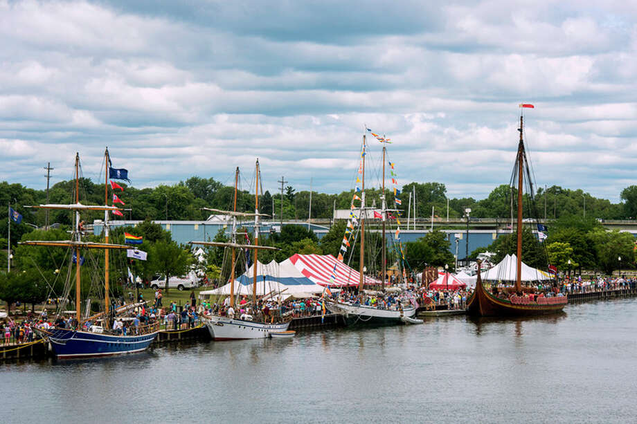 DANIELLE McGREW TENBUSCH | for the Daily News The tall ship fleet docked at Veterans Memorial Park includes the Playfair, Pathfinder, Madeline and Draken Harald H√•rfagre for the Tall Ship Celebration in Bay City. The ships are participating in the Tall Ships Challenge, racing across the Great Lakes. / ©2016