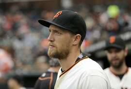 San Francisco Giants right fielder Hunter Pence against the Colorado Rockies during a baseball game in San Francisco, Saturday, May 7, 2016. (AP Photo/Jeff Chiu)