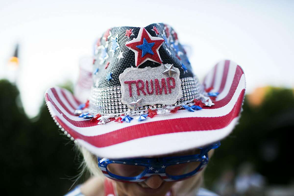 Liz Ritchie wears a custom crafted Trump hat at a welcome reception for California delegates at the Kalahari Resort in Sandusky, OH on Saturday, July 16, 2016.