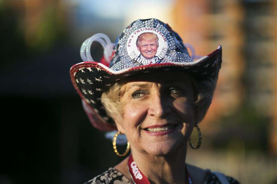 Cheryl McDonald models her custom Trump hat. Photo: Maddie McGarvey, Special To The Chronicle