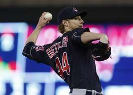 Cleveland Indians pitcher Ross Detwiler throws against the Minnesota Twins in  a baseball game Monday, April 25, 2016, in Minneapolis. (AP Photo/Jim Mone)