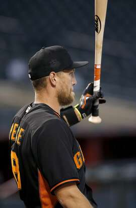 San Francisco Giants' Hunter Pence waits his turn during batting practice prior to a baseball game against the Arizona Diamondbacks Thursday, May 12, 2016, in Phoenix. (AP Photo/Ross D. Franklin)