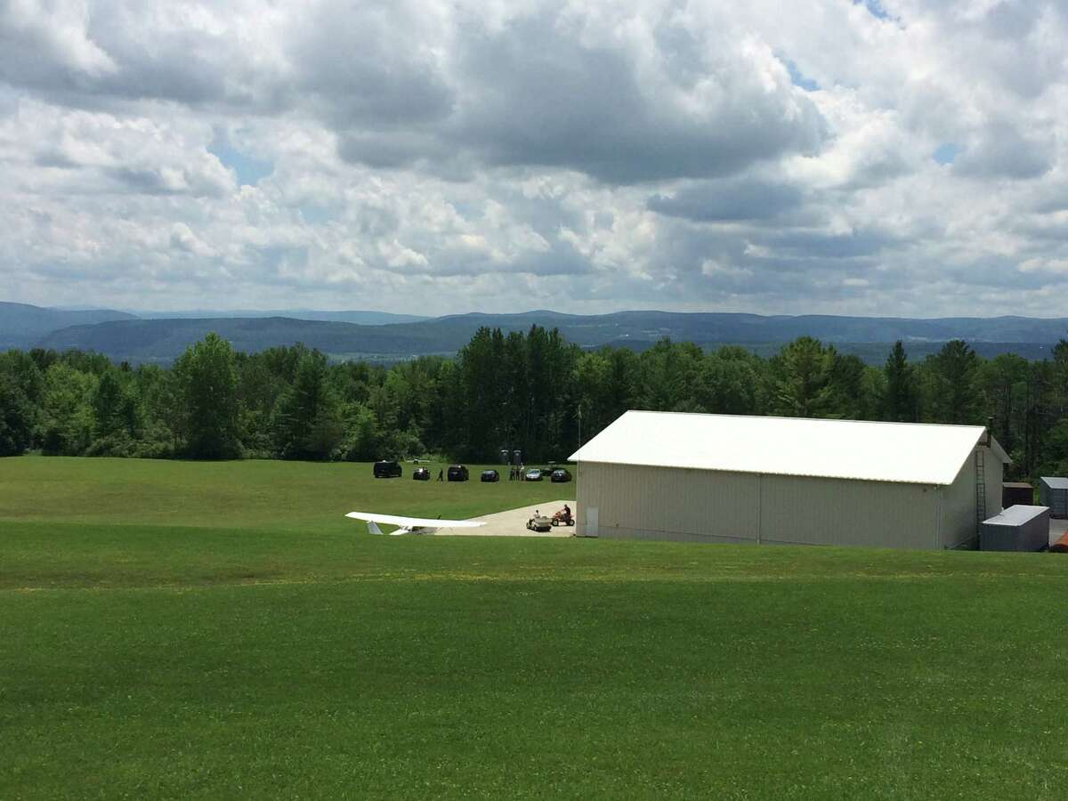 A hangar at the Hogan Airport, a private air strip, in the Town of Esperance, Schoharie County where a plane flew 1,000 feet before crashing into woods just behind the hangar July 16, 2016. Three people were killed. (Lauren Stanforth)