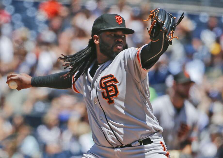 San Francisco Giants starter Johnny Cueto works against the San Diego Padres in the first inning of a baseball game Sunday, July 17, 2016, in San Diego. (AP Photo/Lenny Ignelzi) Photo: Lenny Ignelzi, Associated Press
