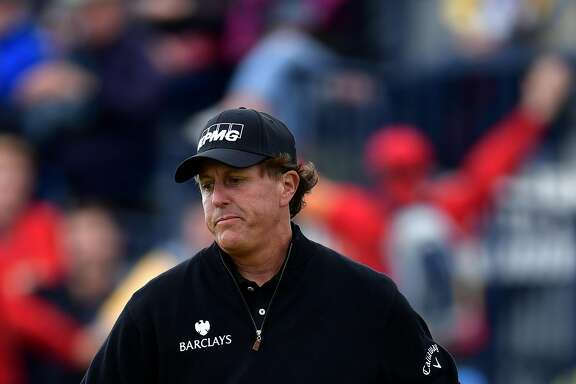 TROON, SCOTLAND - JULY 17:  Phil Mickelson of the United States reacts during the final round on day four of the 145th Open Championship at Royal Troon on July 17, 2016 in Troon, Scotland.  (Photo by Stuart Franklin/Getty Images)