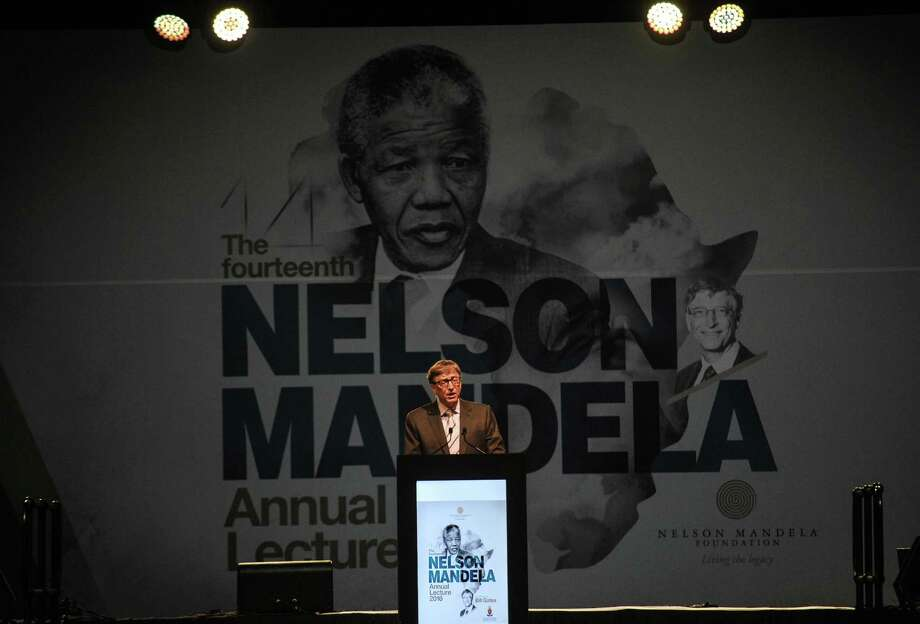 Microsoft co-founder and philanthropist Bill Gates delivers the Nelson Mandela Annual Lecture in Pretoria, South Africa, Sunday, July 17, 2016. Gates said that his foundation will invest another $5 billion in Africa over the next five years. (AP Photo) Photo: STR / Copyright 2016 The Associated Press. All rights reserved. This material may not be published, broadcast, rewritten or redistribu