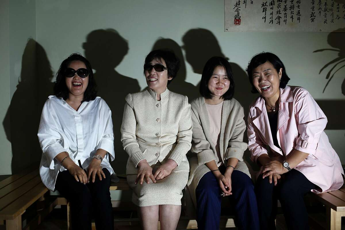 North Korean defectors Kim Jeongwon (left), Yu Sunhui, Ju Eunhye and Ju Yeongsun in San Francisco, California, on Sunday, July 17, 2016.