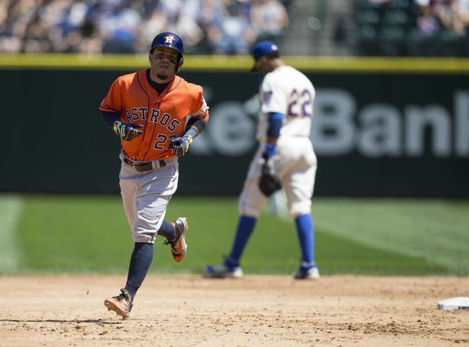 Bleacher Report's Scott Miller predicted the M's will finish third in the AL West, behind the defending-champion Houston Astros and Los Angeles Angels. This will be a recurring theme. Photo: Stephen Brashear/Getty Images, Getty And AP