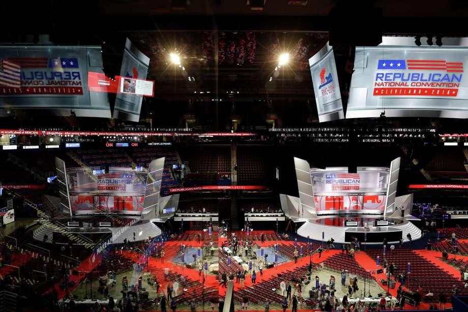 Preparations take place at the Quickens Loans Arena for the Republican National Convention in Cleveland. Photo: John Locher, STF / Copyright 2016 The Associated Press. All rights reserved. This material may not be published, broadcast, rewritten or redistribu