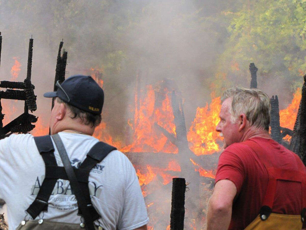 An intense fire destroyed the home of five people Sunday morning, July 17, 2016, in Poestenkill, Assistant Fire Chief David Basle of the Poestenkill Fire Department said. (Martin E. Miller photo)
