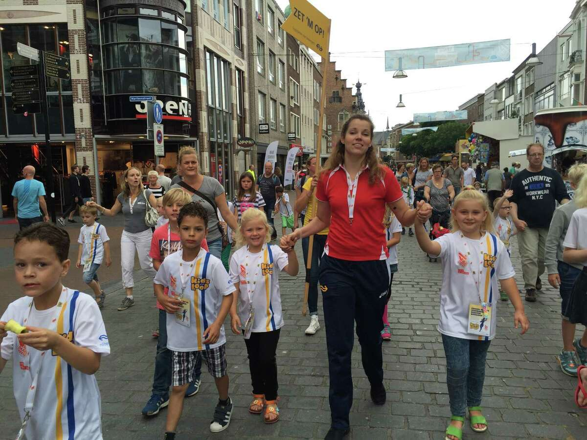 Young children join in the Kids' Walk portion of the