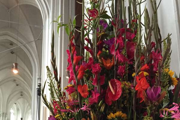 A floral arrangement at St. Stevens Church Nijmegen, The Netherlands. Gladiolas are the official flower of the festivities. (Paul Grondahl)