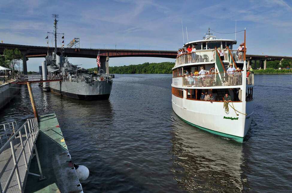 The Dutch Apple II approaches its dock next to the USS Slater after a National Maritime Day ceremony on the boat on Sunday June 19, 2011 in Albany, NY. They were giving free tours of the Port of Albany and other parts of the river. ( Philip Kamrass / Times Union)