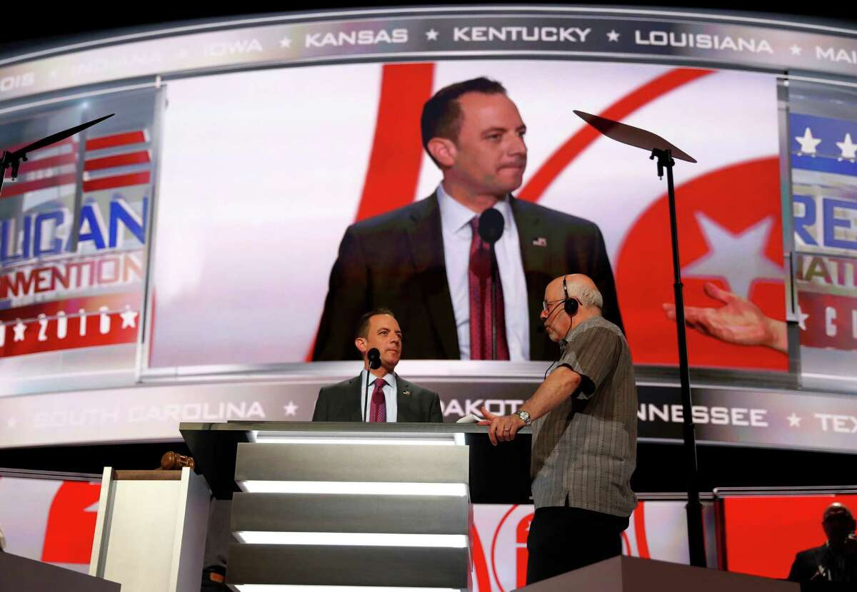 Chairman of the Republican National Committee Reince Priebus checks out the stage during preparation for the Republican National Convention inside Quicken Loans Arena, Sunday, July 17, 2016, in Cleveland. (AP Photo/Carolyn Kaster) ORG XMIT: RNC522
