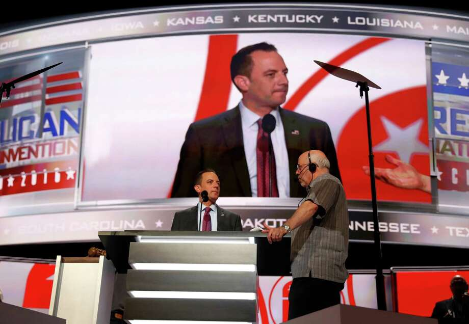 Chairman of the Republican National Committee Reince Priebus checks out the stage during preparation for the Republican National Convention inside Quicken Loans Arena, Sunday, July 17, 2016, in Cleveland. (AP Photo/Carolyn Kaster) ORG XMIT: RNC522 Photo: Carolyn Kaster / Copyright 2016 The Associated Press. All rights reserved. This m