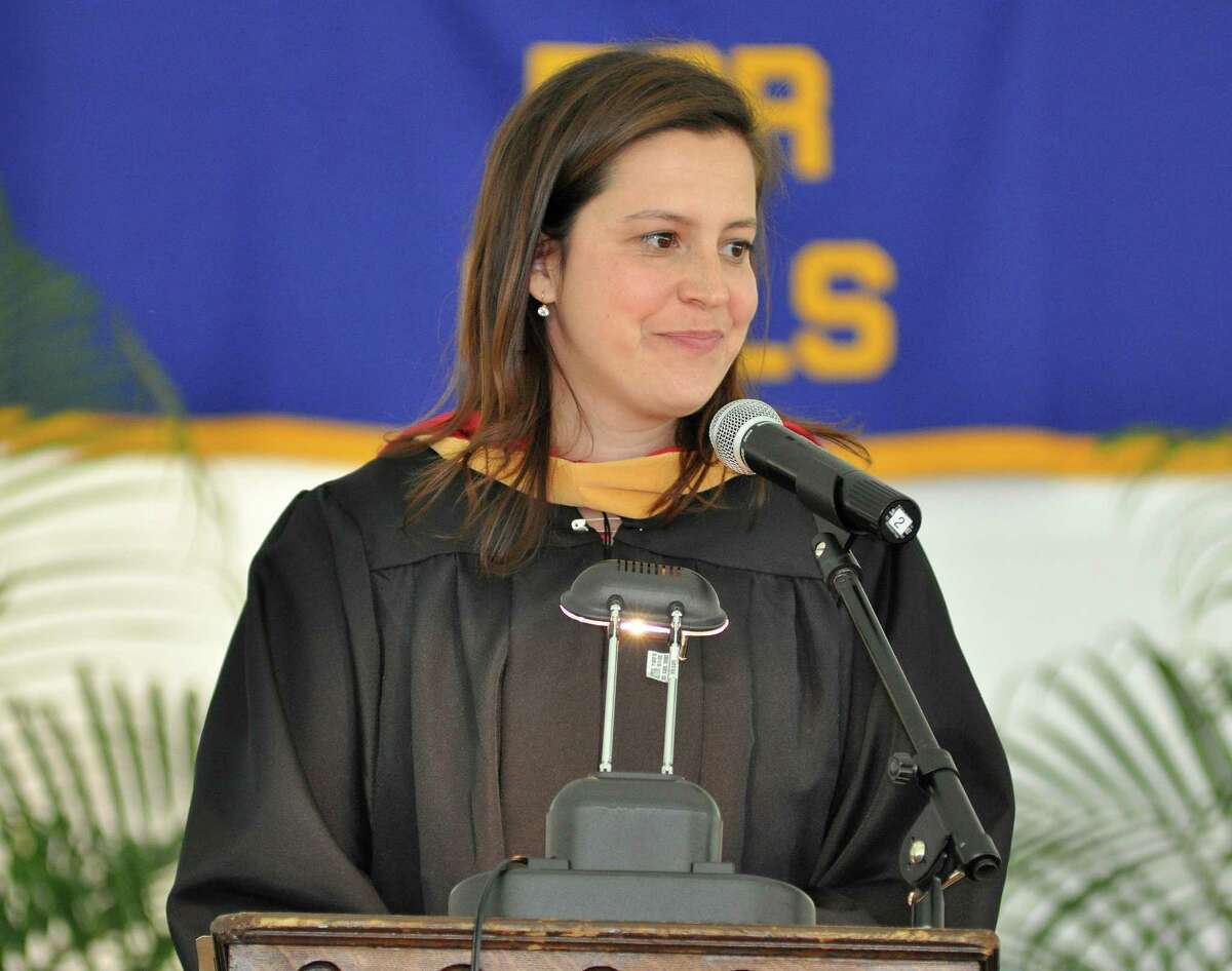 Congresswoman and Albany Academy for Girls alumna, Elise Stefanik, delivers the commencement address during graduation on Monday, June 13, 2016, in Albany, N.Y. (Eliza Mineaux/Special to the Times Union)