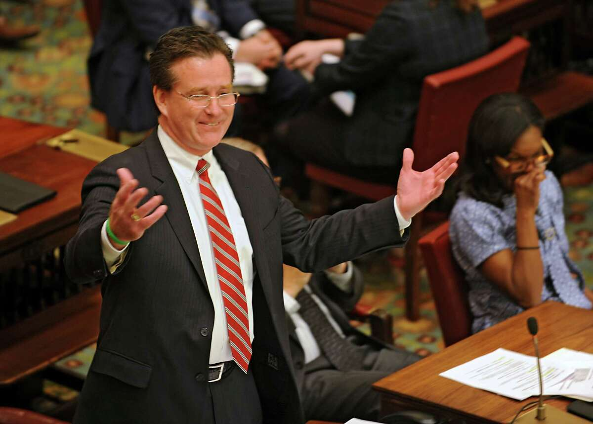 Senate Majority Leader John Flanagan speaks about working together on living wages during this year's first day of session at the Capitol on Wednesday, Jan. 6, 2016 in Albany, N.Y. (Lori Van Buren / Times Union)
