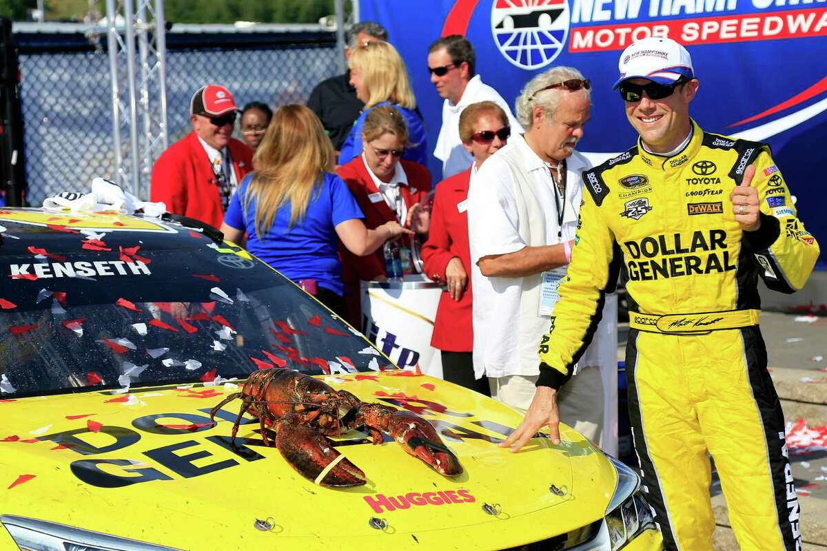LOUDON, NH - JULY 17: Matt Kenseth, driver of the #20 Dollar General Toyota, poses in Victory Lane after winning the NASCAR Sprint Cup Series New Hampshire 301 at New Hampshire Motor Speedway on July 17, 2016 in Loudon, New Hampshire. (Photo by Chris Trotman/Getty Images) ORG XMIT: 654765765