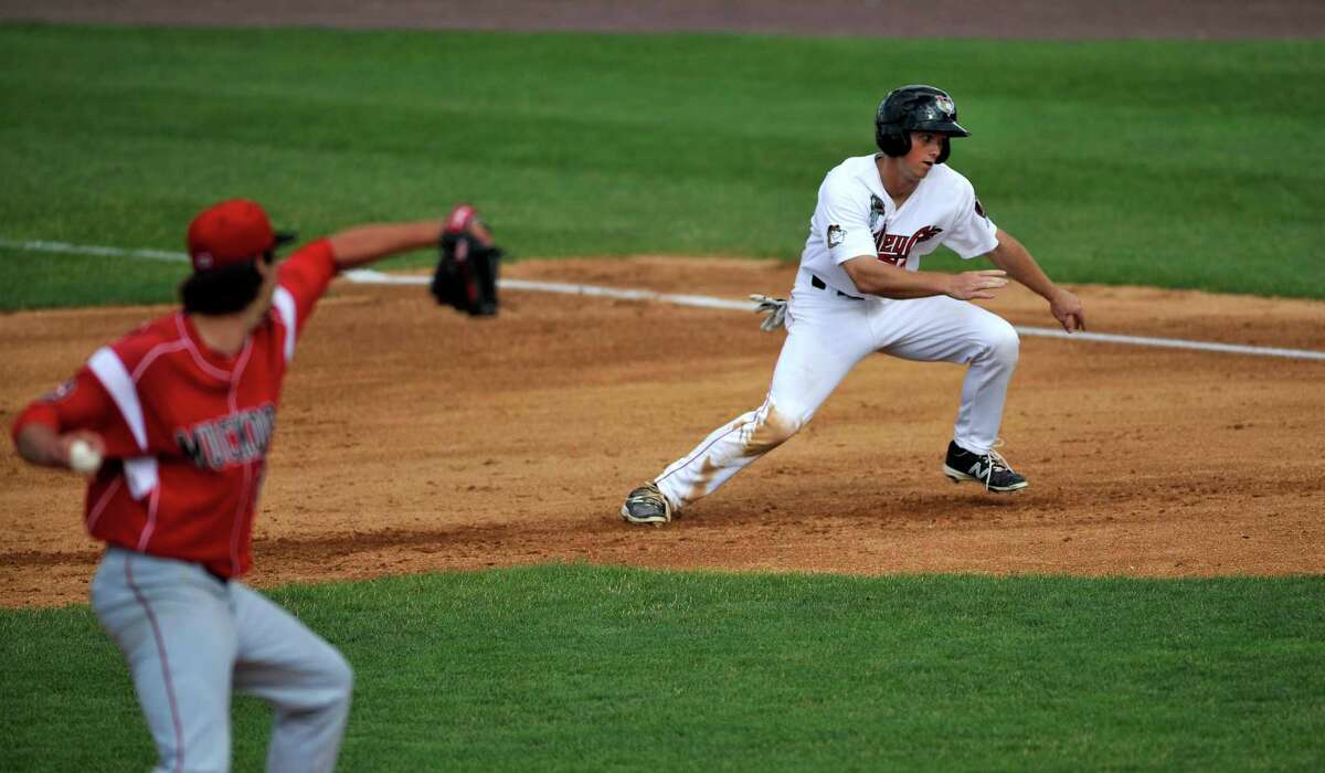 Stephen Wrenn with the Tri-City ValleyCats lunges back towards first base to avoid being tagged out as he was leading off the base during their game against the Batavia Muckdogs at Joe Bruno Stadium on Sunday, July 17, 2016, in Troy, N.Y. (Paul Buckowski / Times Union)