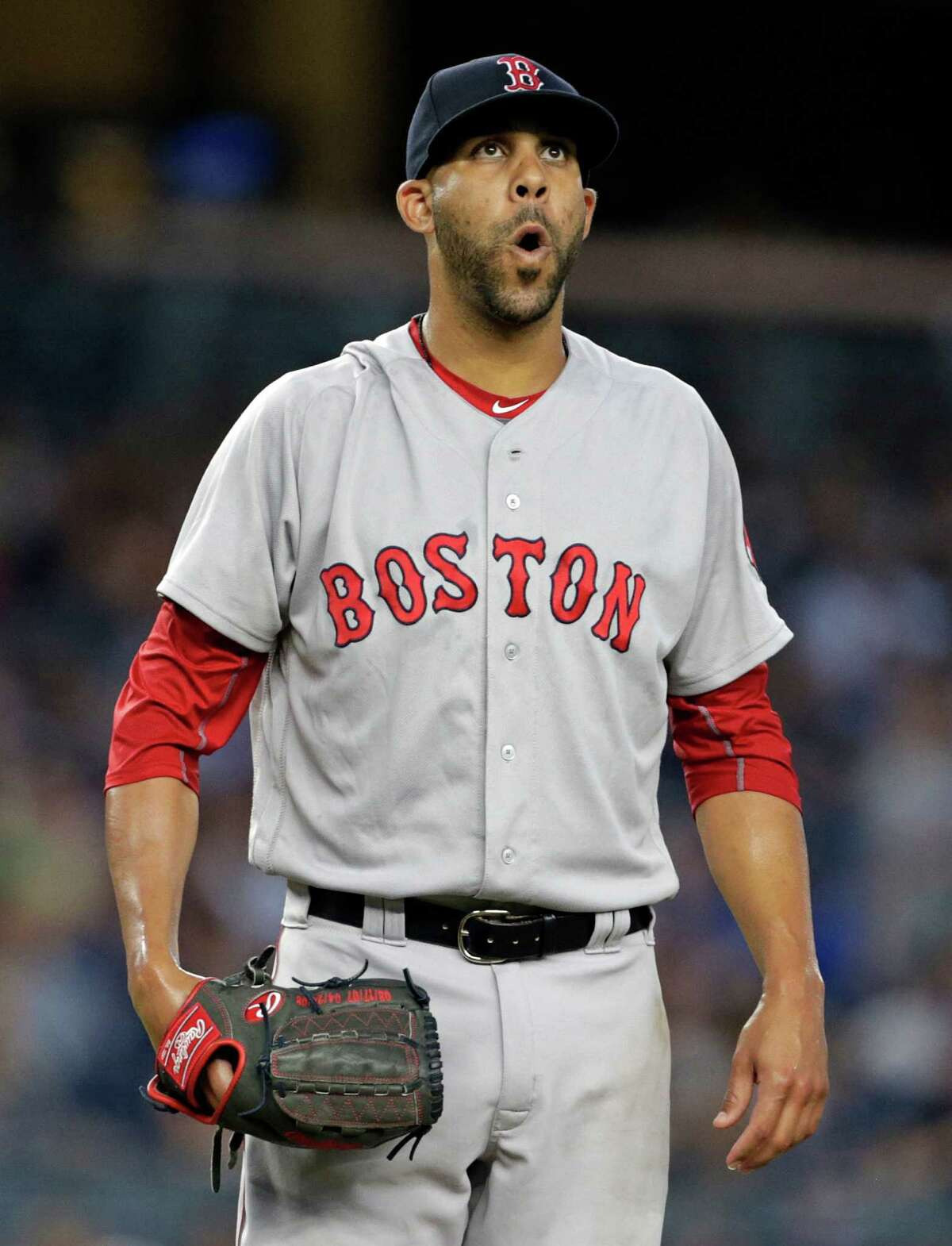 Boston Red Sox starting pitcher David Price reacts during the first inning of a baseball game against the New York Yankees on Sunday, July 17, 2016, in New York. (AP Photo/Adam Hunger) ORG XMIT: NYAH113