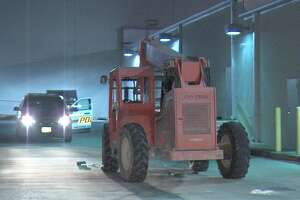Police are searching for suspects who used a forklift to destroy an ATM on the West Side on Monday morning.