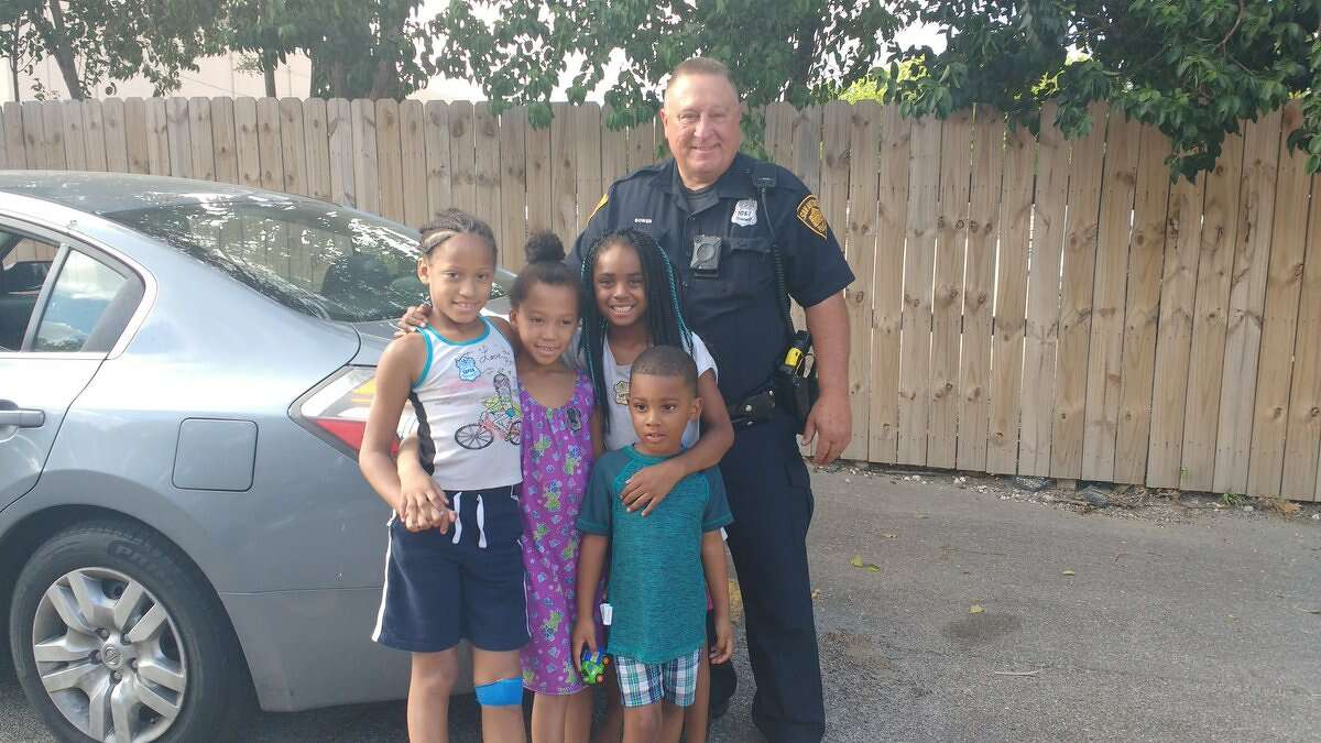 San Antonio Police Department Officer Tim Bowen caught three children between the ages of four and 12 who jumped from a burning second-story apartment window on July 18, 2016 in the 9500 block of Lorene Lane. The fourth child, who was too frightened to jump, was rescued by firefighters.