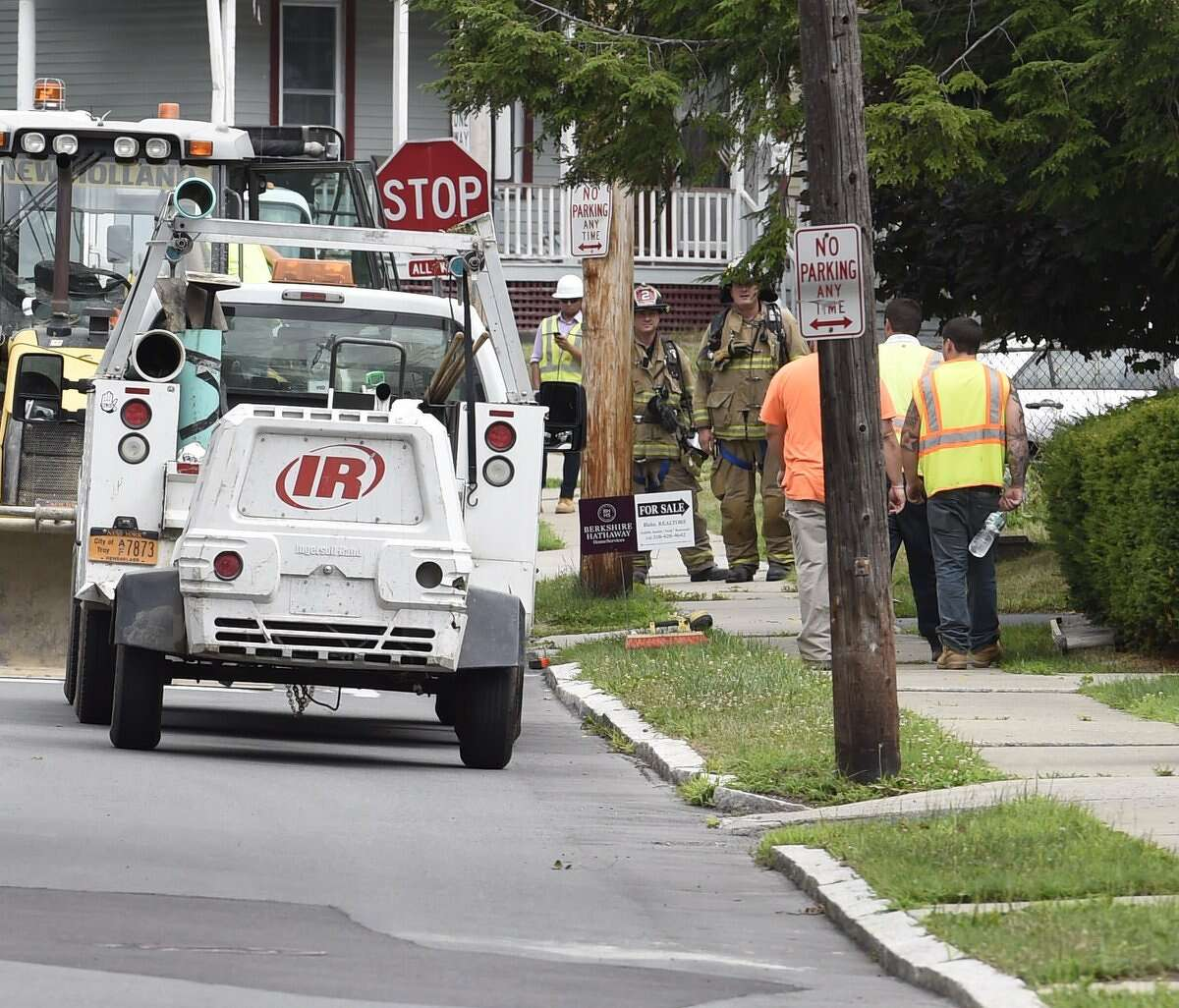 Collins Avenue near Pawling Avenue in Troy was closed down Monday, July 18, 2016, due to a gas leak. National Grid is attending to the problem. (Skip Dickstein/Times Union)