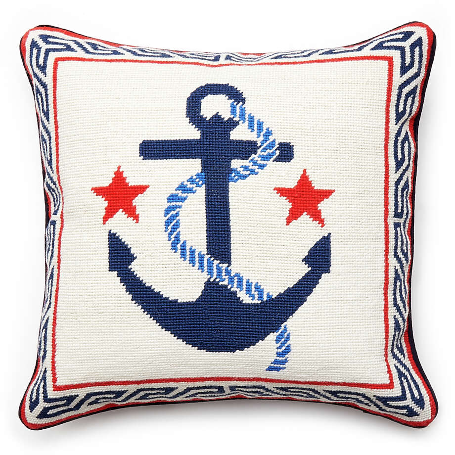 Anchor Needlepoint Throw Pillow                 Needlepoint might be a craft from your grandmother?s era, but plenty of        stitchers turn beautiful threads and imaginative patterns into        decorative pillows. We love the vintage border, rope and anchor design        and the bright stars that come with the package. $165 at Jonathan Adler Photo: Jonathan Adler / Jonathan Adler LLC