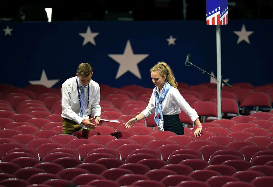 Preparations are made at the Quicken Loans Arena before the opening session of the Republican National Convention in Cleveland, Monday, July 18, 2016. Photo: Mark J. Terrill, AP / Copyright 2016 The Associated Press. All rights reserved. This material may not be published, broadcast, rewritten or redistribu
