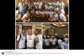 """Spurs Head Coach Gregg Popovich met with the USA Swimming team on July 15, 2016, wearing a """"Vote for Pedro"""" t-shirt."""