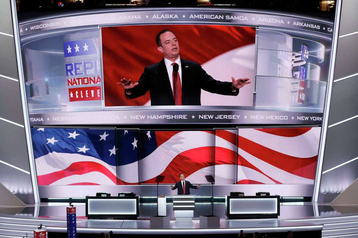 Rein Priebus, Chairman of the Republican National Committee, announces the rules of the convention during the opening day of the Republican National Convention in Cleveland, Monday, July 18, 2016.