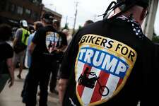 CLEVELAND, OH - JULY 18:  Members of the Bikers for Trump motorcycle group attend a rally for Donald Trump on the first day of the Republican National Convention (RNC) on July 18, 2016 in downtown Cleveland, Ohio. An estimated 50,000 people are expected in downtown Cleveland, including hundreds of protesters and members of the media. The convention runs through July 21.  (Photo by Spencer Platt/Getty Images)
