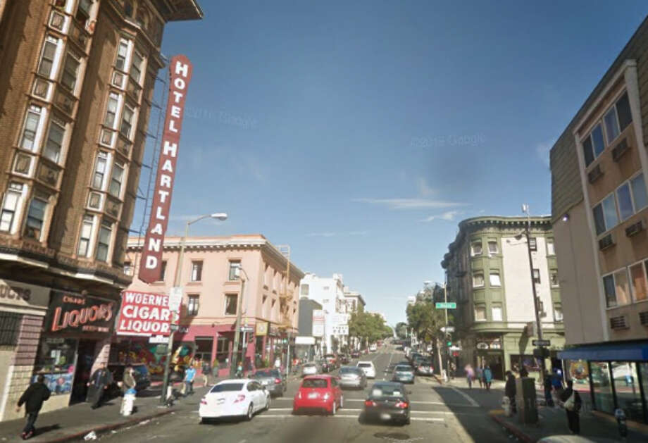 A Google street view image shows the intersection of Geary and Larkin streets, where a man was shot and killed outside of a bar early Sunday. Photo: Google / /
