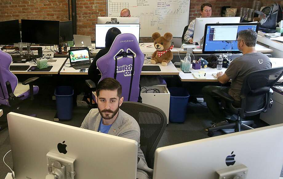 Product marketing manager Brian Petrocelli watches Twitch at the San Francisco headquarters. Photo: Liz Hafalia, The Chronicle