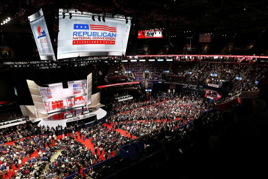 Delegates crowd the floor on the first day of the Republican National Convention at the Quicken Loans Arena in Cleveland. Photo: John Moore, Getty Images
